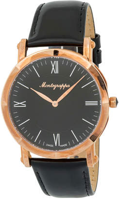 Montegrappa 40mm NeroUno Thin Watch w/ Leather Strap, Black/Rose