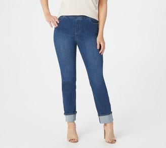 Susan Graver Regular High Stretch Denim Pull-On Cuffed Jeans