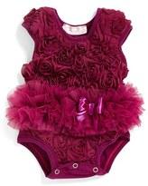 Infant Girl's Popatu Ribbon Rosette Flower Bodysuit