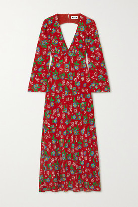Rixo Nadine Open-back Floral-print Silk-crepe Maxi Dress - Red