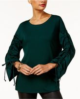 INC International Concepts Ruched-Sleeve Top, Created for Macy's