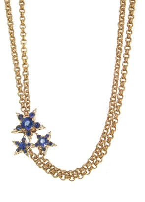 Selim Mouzannar Diamond and Blue Sapphire Star Cluster Multi Chain Rose Gold Necklace