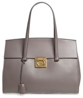 Salvatore Ferragamo Large Smooth Leather Tote - Grey