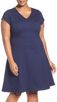 Sejour Stretch Knit A-Line Dress (Plus Size)