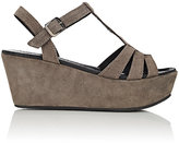 Barneys New York WOMEN'S SUEDE T-STRAP PLATFORM-WEDGE SANDALS