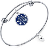 "Unwritten I Love You More Than..."" Adjustable Message Bangle Bracelet in Stainless Steel"