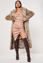 Missguided Tan Faux Fur Maxi Coat
