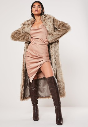 Missguided Tan Faux Fur Maxi Coat
