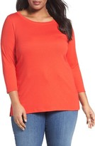 Sejour Plus Size Women's Ballet Neck Tee