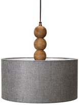 Mudhut Rope Textured Plug-In Pendant Lamp with Gray Linen Shade