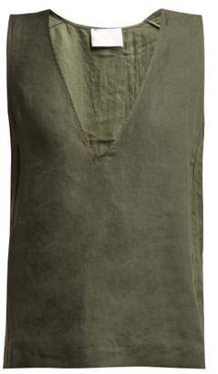 Asceno - Deep V Neck Linen Top - Womens - Khaki