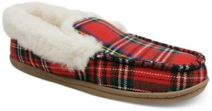 Charter Club Women's Plaid Faux-Fur Slippers, Created for Macy's