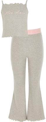 River Island Girls grey 'Mon Amie' flare pyjamas