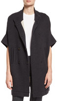 Brunello Cucinelli Doubled-Breasted Short-Sleeve Cashmere Sweater, Onyx