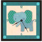 Green Leaf Art Baby Elephant Decorative Art Clock