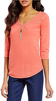 Westbound 3/4 Sleeve V-Neck Sweater Top
