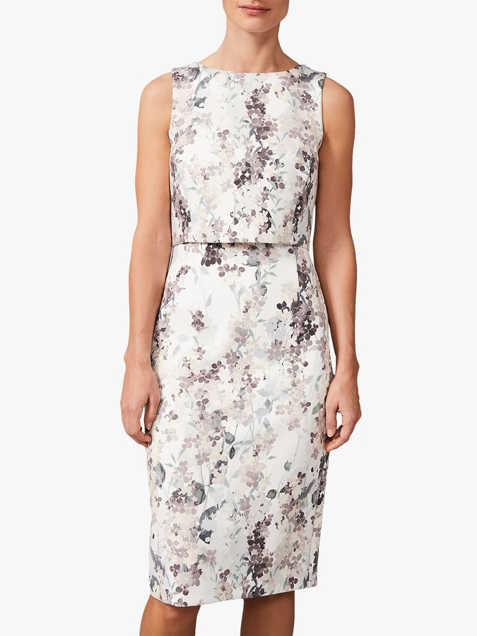 Phase Eight Violetta Pencil Dress, Ivory/Taupe