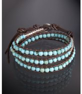 turquoise and silver nugget leather wrap bracelet
