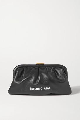 Balenciaga Cloud Small Printed Textured-leather Clutch - Black