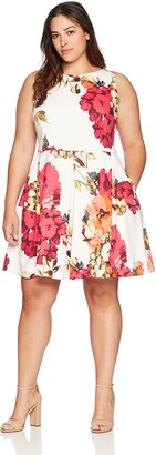 Taylor Dresses Women's Plus Size Floral Print Sleeveless Fit and Flare Dress