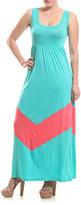 Aqua & Pink Chevron Empire-Waist Maxi Dress