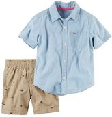 Carter's Baby Boy Chambray Shirt & Dino Canvas Shorts Set
