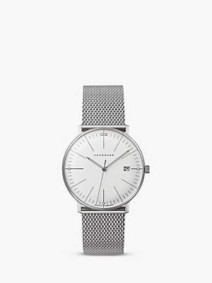Junghans 047/4250 Women's Max Bill Date Bracelet Strap Watch, Silver/White