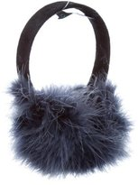 Jocelyn Blue Feather-Embellished Earmuffs w/ Tags