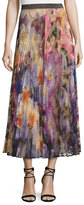 Christopher Kane Pleated Pansy-Print Lace Maxi Skirt, Multicolor