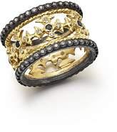 Armenta 18K Yellow Gold & Blackened Sterling Silver Maltese Cross White & Black Diamond Ring