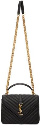 Saint Laurent Black and Gold Medium College Bag