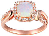 Fine Jewelry Womens Lab Created White Opal 14K Rose Gold Over Silver Cocktail Ring Family