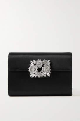 Roger Vivier Bouquet Crystal-embellished Satin Clutch - Black