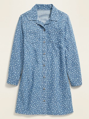 Old Navy Long-Sleeve Floral Shirt Dress for Girls