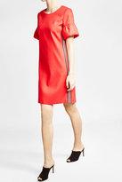 HUGO Stretch Cotton Ruffle Sleeve Dress