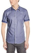 Calvin Klein Men's Short Sleeve Snap Front Woven Shirt in Mini Dobby Check