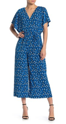 London Times Printed Dolman Sleeve Jumpsuit