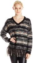 Blu Pepper Women's Fringe Hem Multi Stripe Sweater