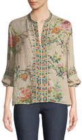 Johnny Was Paris Effortless Floral-Print Embroidered Top