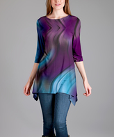 Lily Blue & Purple Wave Sidetail Tunic - Plus Too