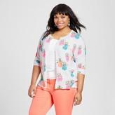 Merona Women's Plus Size Favorite Cardigan Pineapple Print Fresh White