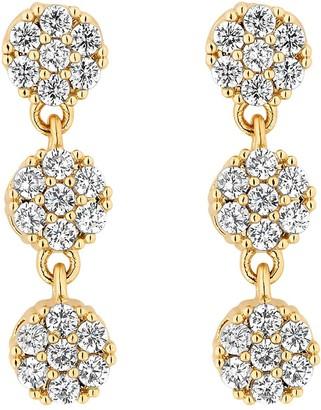 Jon Richard Bridal Gold Plated Fine Pave Allway Tennis 3 Drop Earrings