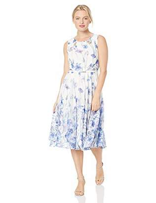 Gabby Skye Women's Petite All Over Floral Printed a-Line Dress
