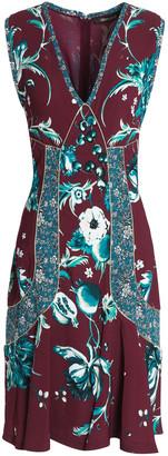 Roberto Cavalli Flared Metallic-trimmed Floral-print Crepe Dress