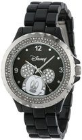 EWatchFactory Disney Women's 56270-1B Mickey Mouse Rhinestone-Accented Black-Enamel Sparkle Watch