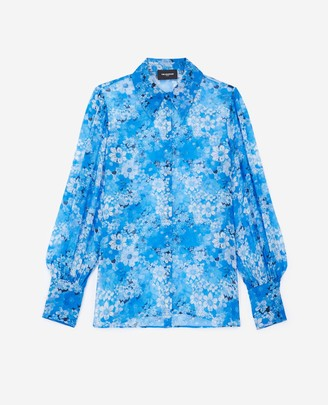 The Kooples Long-sleeved blue shirt with floral motif