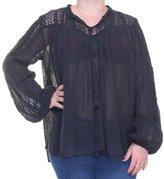 Polo Ralph Lauren Denim & Supply Ralph Lauren Womens Gauze Lace Trim Pullover Top L