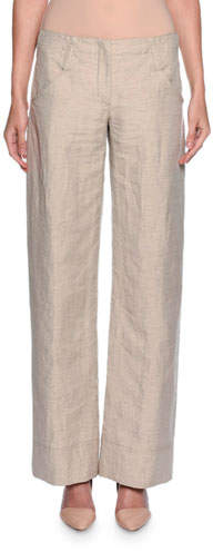 Giorgio Armani Relaxed Logo-Pocket Pants, Beige