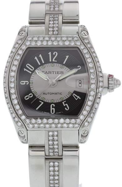 Cartier Roadster 2510 Stainless Steel & Diamonds 38mm Mens Watch
