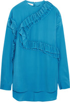 Cédric Charlier Ruffled Georgette Top - Turquoise
